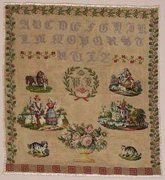 A Beautiful Century European Sampler No Date ~ Biedermeier Motifs Love Knitting Patterns, Gothic Alphabet, Embroidery Sampler, Cross Stitch Samplers, Museum Of Fine Arts, 19th Century, Needlework, Vintage World Maps, Objects