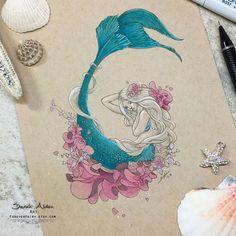 Flower Mermaid Art, Little Mermaid Print, Original Mermaid Painting, Mermay Drawing, Ocean Beach Decor Mermaid Tattoo Designs, Mermaid Drawings, Mermaid Tattoos, Art Drawings, Watercolor Mermaid Tattoo, Drawings Of Mermaids, Mermaid Paintings, Watercolor Sea, Little Mermaid Painting