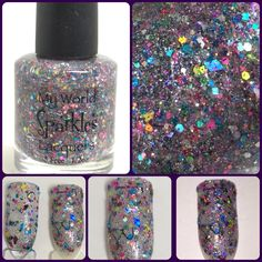 Glitter All Over The House, Clear base& multi glitters, by My World Sparkles Lacquers - Handmade 5-Free Indie nail polish - Full size 1/2 oz - pinned by pin4etsy.com