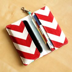 iPhone Cell Phone Wallet  Red Chevron Print  Custom by kailochic, $22.00