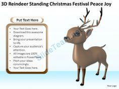 3d Reindeer Standing Christmas Festival Peace Joy Ppt Graphics Icons #Powerpoint #Templates #Infographics