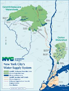 A map showing New York Citys two major watershed/water supply areas on both sides of the Hudson River in southeastern NY