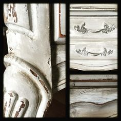 Working on a French Provincial end table. Layering colors of Annie Sloan chalk…