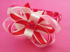 Princess tiara boutique bow alice band from Www.brionisboutique.co.uk ♥ in pink, white and red :-)