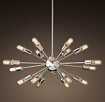 Sputnik Elliptical Filament Chandelier - Polished Nickel