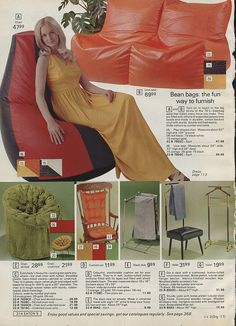 Forty Funky Catalogue Pages From The Seventies – Voices of East Anglia Vintage Oddities, Vintage Ephemera, Vintage Ads, Bean Bag Design, Bean Bag Furniture, Home Wrecker, Hearth And Home, Christmas Catalogs, Old Ads