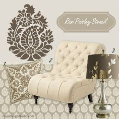 We created some elegant mood boards that feature some of our favorite new Royal Design Studio stencil patterns.