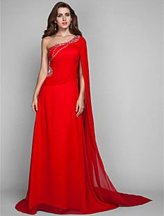 Sheath/Column One Shoulder Sweep/Brush Train Chiffon Evening... – USD $ 195.99