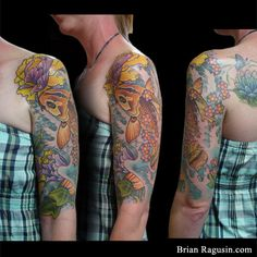 fish with peonies and waves Japanese Koi, Arm Tattoos, Huntington Beach, Tattoo You, Peonies, Waves, Concept, Ink, Arm Tattos