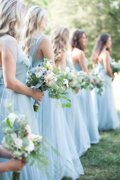 Traditional + elegant outdoor biltmore estate wedding borrowed blue bliss a wedding story in dusty blue Wedding Colors, Wedding Flowers, Wedding Themes, Baby Blue Wedding Theme, Pastel Blue Wedding, Periwinkle Wedding, Blue Bridal, Bridal Hair, Wedding Bouquets