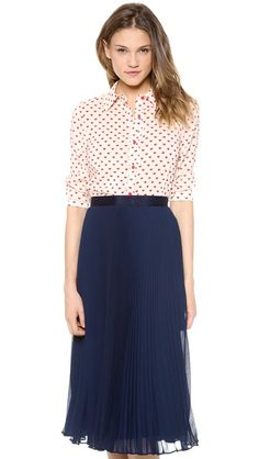 alice + olivia Bryant Button Down Top (heart print blouse with a pleated skirt -love the outfit)