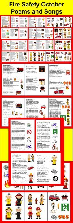 $3.00 Fire Safety Week - Poems/Songs/Finger Plays and Graphics for Charts - 32 page file – All Illustrated with Graphics- 28 Songs/Poems/Finger Plays and Chants - Just choose those you like, and print just those pages.