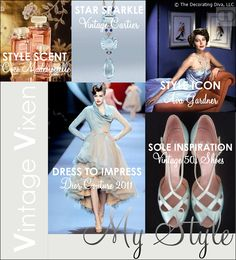 My Style: 1950s vintage vixen fashion style inspires my interior bedroom fashion moodboard | The Decorating Diva, LLC