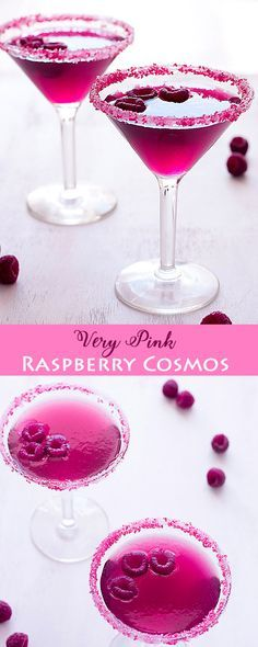 The Very Pink Raspberry Cosmopolitan is a drink you have to try! One sip of this updated vodka classic will make you feel just like Carrie Bradshaw. The Very Pink Raspberry Cosmopolitan Pink Party Drinks, Party Drinks Alcohol, Pink Cocktails, Non Alcoholic Drinks, Refreshing Cocktails, Summer Drinks, Cocktail Drinks, Cocktail Recipes, Summer Fun