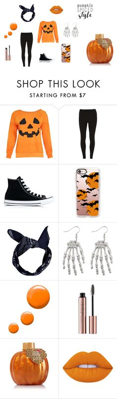 """""""pumpkin spiced style"""" by iconeinconnu ❤ liked on Polyvore featuring Dorothy Perkins, Converse, Casetify, Boohoo, Topshop, Lime Crime, orange, pumpkin and bonbons"""