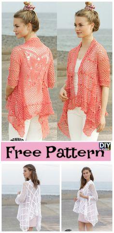 Crocheted Lace Pattern Jacket - Free Patterns #crochet #freepattern