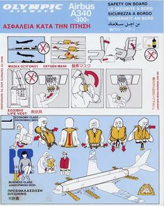 Olympic Airways Safety Card Airbus A340-300 Safety Instructions, Business Class, Air Travel, Vintage Ads, Olympics, Greece, Aviation, Nostalgia, Aircraft