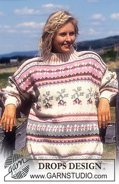 """DROPS 31-20 - Drops Sweater with berries in """"Alaska"""" Long or short version. - Free pattern by DROPS Design"""