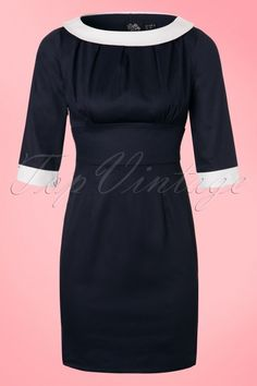 Dolly and Dotty - 50s Prudence Pencil Dress in Navy