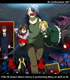 Anonymous Art I like Ib fanart where Garry is protecting Mary as well as Ib. I like to see Mary included, and Garry caring for her. I know they didn't really spend much time together in the game, but it's still nice. Rpg Maker, Maker Game, Ib And Garry, Saiunkoku Monogatari, Ib Game, Ao Haru, Mad Father, Gekkan Shoujo, Rpg Horror Games