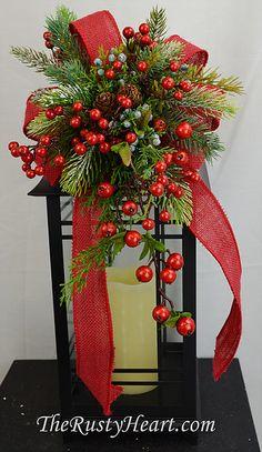 The Rusty Heart- Lantern Swag Custom Lantern Swags Seasonal Lanterns Fall Lanterns, Christmas Lanterns, Christmas Swags, Lanterns Decor, Christmas Centerpieces, Rustic Christmas, Xmas Decorations, Christmas Holidays, Lantern Centerpieces