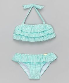 Loving this Turquoise Ruffle Seersucker Bikini - Toddler & Girls on #zulily! #zulilyfinds