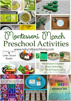 10 + Montessori March Preschool Activities, Color Trays, Dr. Suess, Practical Life, Language Baskets, Sensory Play, Montessori Math and More.