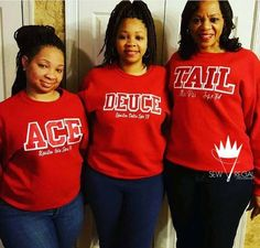 Ace Deuce Tre Quad Tail Custom Crewneck Sweatshirts by SewRegal Delta Sigma Theta Gifts, Zeta Phi Beta, Alpha Kappa Alpha, Sorority Gifts, Divine Nine, Delta Girl, Sorority And Fraternity, Greek Life, Black Girl Magic
