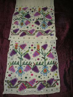 Women's 'uçkur' (sash / waist band) with embroidered ends. Marmara region, late 19th / early 20th century.