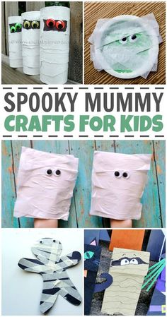 Celebrate Halloween with these spooky mummy crafts for kids. Halloween Themed Food, Halloween Crafts For Kids, Halloween Themes, Halloween Fun, Halloween Decorations, Mummy Crafts, Cute Kids Crafts, Puppet Crafts, Creative Crafts