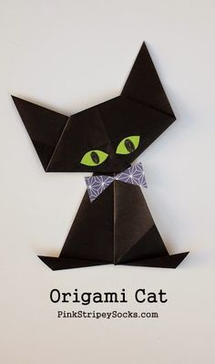 Black Cat Fold an Origami Black Cat for Halloween!Fold an Origami Black Cat for Halloween! Paper Crafts For Kids, Cat Crafts, Diy Paper, Arts And Crafts, Sock Crafts, Paper Gifts, Gato Origami, Origami And Kirigami, Oragami