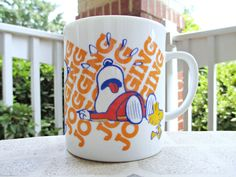 Vintage Peanuts Snoopy JOGGING with Woodstock Collectible Ceramic Coffee Mug