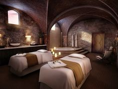 Essere Spa, Siena, Italy  This onetime wine cellar in the middle of the hilltop Castello di Casole estate has vaulted ceilings, stone walls, and views of the valley below. Whether you schedule a treatment there or in your suite, expect to be rubbed down with oils and lotions infused with Tuscan olive oil, grape seeds, and rosemary.