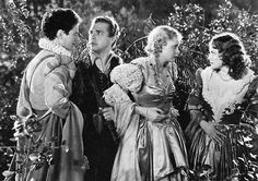 """""""Nay, faith, let me not play a woman; I have a beard coming."""" --Flute from """"A Midsummer's Night Dream"""" (1.2.50) Ross Alexander, Dick Powell, Jean Muir and Olivia de Havilland from Warner Bros. Pictures's 1935 movie """"A Midsummer Night's Dream."""""""