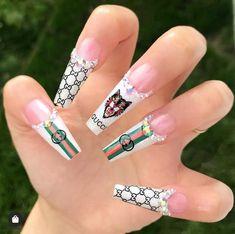 dope nails gucci gucci nails - Gucci Nails - Ideas of Gucci Nails - Rhinestone Nails, Bling Nails, Stiletto Nails, Swag Nails, Best Acrylic Nails, Gel Nail Art, Gucci Nails, Short Gel Nails, Exotic Nails
