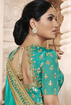 Green And Pink Designer Party Wear Saree
