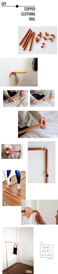 { DIY Copper Clothes Rail via Who Goes Wear }