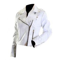 Brando White Motorcycle Women's Genuine Leather Jacket
