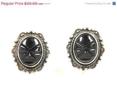 Summer Sale Vintage Sterling Silver Black Stone Tribal Mask Face Screw Back Earrings