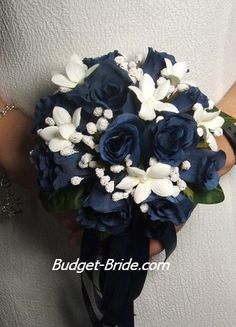 Dark Blue Wedding Bouquet. might change my colors to dark blue to match the side by side.mayb my new theme...