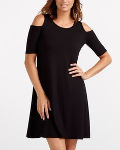 Add a modern touch to your wardrobe with this Cold Shoulder Dress. This unique piece is styled with a flattering scoop neckline and a flared skirt. Pair it with high heels and a skinny scarf for a trendy look. Canadian Clothing, Skinny Scarves, Fashion Books, Flare Skirt, Cold Shoulder Dress, My Style, Unique, Skirts, Clothes