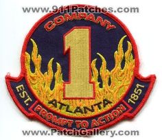 Atlanta Fire Department AFD Company 1 Station Dept Rescue Patch Georgia GA N/S