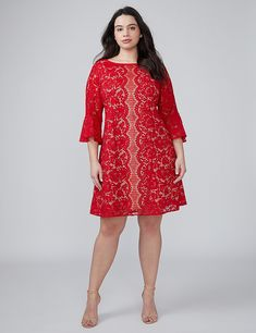 Flounce-Sleeve Lace Dress | Lane Bryant