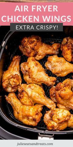 Air Fryer Recipes Chicken Wings, Air Fry Chicken Wings, Crispy Chicken Wings, Air Fryer Oven Recipes, Air Fry Recipes, Air Fryer Dinner Recipes, Chicken Wing Recipes, Cooking Recipes, Instapot Chicken Wings
