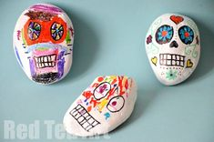 Day of the Dead Craft (2): Painting rocks. White acrylic paint and Sharpies. Talk about those who have passed on.