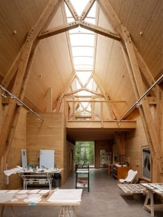 Modern Cruck Frame - a cruck is a curved timber that supports the roof of a building, used particularly in England.