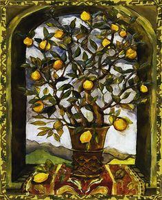 Lemon Tree Art Tile Wall Hanging by CCCnet on Etsy