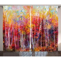 Red Barrel Studio Somerset Nature Vibrant Nature Painting with Trees in Autumn Forest IImpressionist Artwork Graphic Print & Text Semi-Sheer Rod Po...