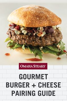 Create the ultimate gourmet cheeseburger with this burger + cheese pairing. Find the best cheese for your unique gourmet burger, including filet mignon burgers, Private Reserve Angus Reserve burgers, grass-fed burgers and Delmonico burgers. Tailgating Recipes, Tailgate Food, Barbecue Recipes, Steak Recipes, Grilling Recipes, Gourmet Recipes, Grilling The Perfect Steak, Omaha Steaks, Cheeseburger Recipe
