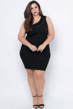 Plus Size One Shoulder Ruffle Perla Dress - Black Trendy Plus Size Clothing, Plus Size Dresses, Plus Size Outfits, Plus Size Fashion, Curvy Plus Size, Plus Size Model, Best Online Clothing Stores, Pernas Sexy, Curvy Girl Outfits